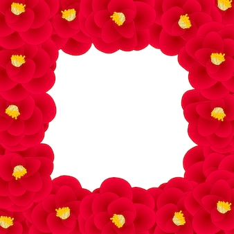 Red camellia flower border
