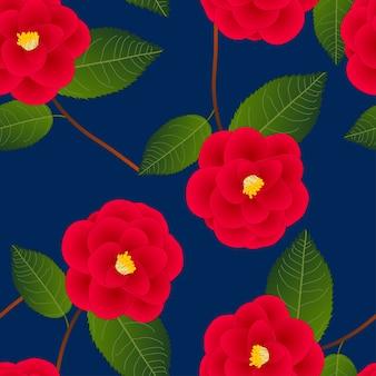 Red camellia flower on indigo blue background