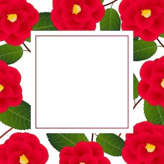 白いバナーカードのレッド・カメリア・フラワー