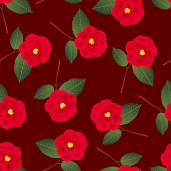 Red camellia flower on red background