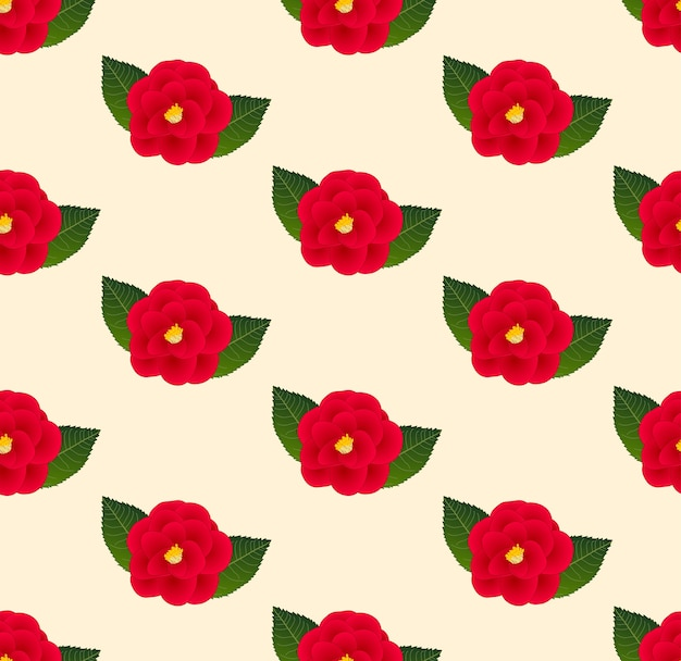 Red camellia flower seamless on beige ivory background