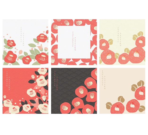 Red camellia flower with japanese pattern vector. abstract background in oriental style. chinese new year banner.
