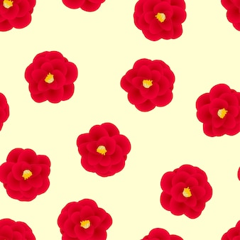 Red camellia flower on yellow background