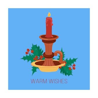 Красная свеча рисованной открытки старинный подсвечник для рождественских открыток и зимнего дизайна