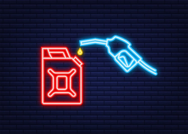 Red canister. fueling gasoline or diesel vector web banner. filling stations network, petroleum. neon icon. vector stock illustration.