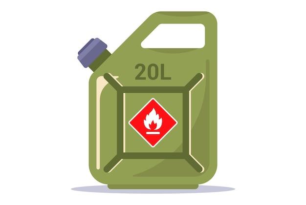 Красная канистра с бензином. осторожно! легковоспламеняющийся. плоские векторные иллюстрации.