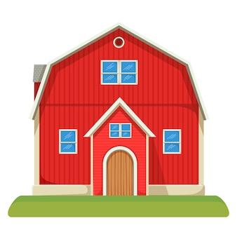 Красный вместительный фермерский сарай с двухэтажным ухоженным газоном. сельское здание для скота и сельскохозяйственной техники изолировало реалистичную квартиру.