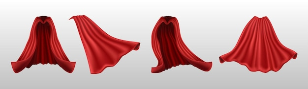 Red cape front and side view and back isolated on white