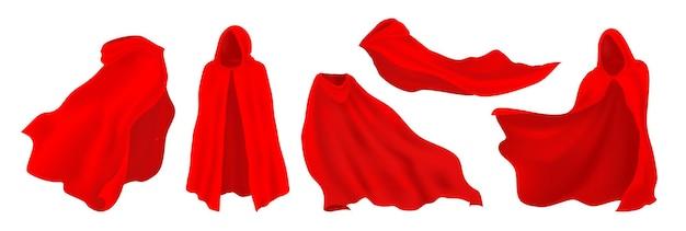 후드가 달린 빨간 망토. 현실적인 슈퍼 히어로 망토, 뱀파이어 및 환상 주의자 실크 파티 의상. 벡터 일러스트 레이 션 빨간색 장식 옷 흰색 배경에 설정