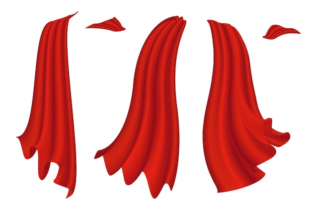 흰색 배경 슈퍼 히어로 새틴 망토 벡터 일러스트 레이 션에 설정 빨간 망토
