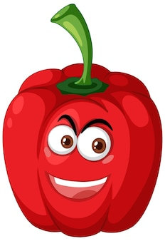 Red capsicum cartoon character with happy face expression on white background