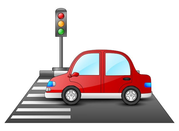 Красный автомобиль и светофоры на пешеходном переходе