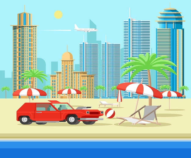 Red car on beach seaside. tropical resort with view of urban city