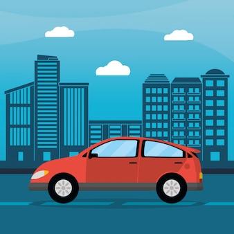 赤い車都市夏時間