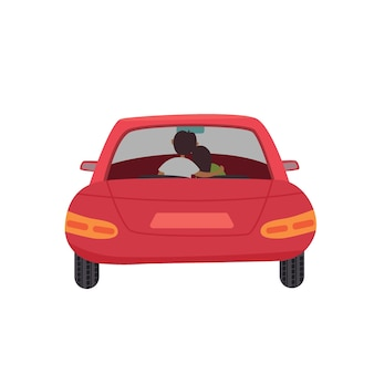 Пара красных автомобилей внутри