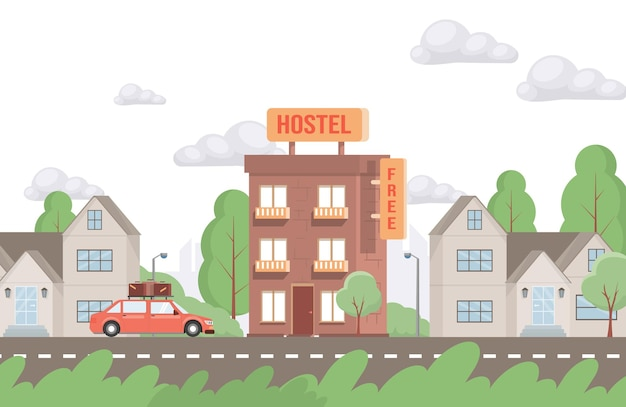 Red car driving up to hostel building vector flat illustration