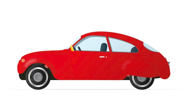 古いスタイルの赤い車。白い背景で隔離のリアルな赤い車。ストックイラスト。