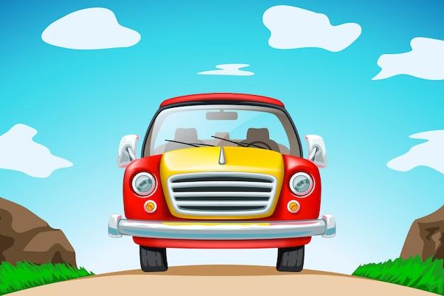 道路上の赤い車