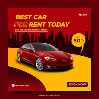Red car rental promotion social media cover banner template