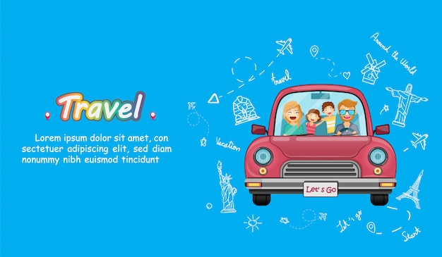 Red car with check in point travel around the world concept on blue heart background design.