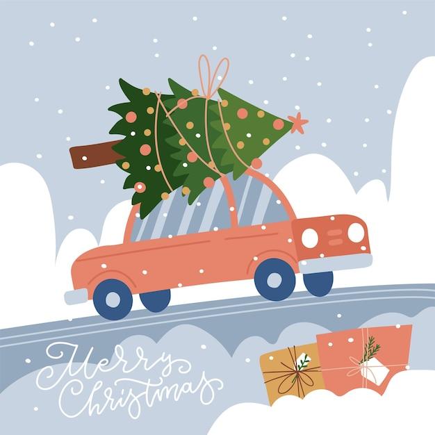 Красный автомобиль с елкой на крыше tre на фоне снежного пейзажа, вид сбоку праздничный автомобиль ...