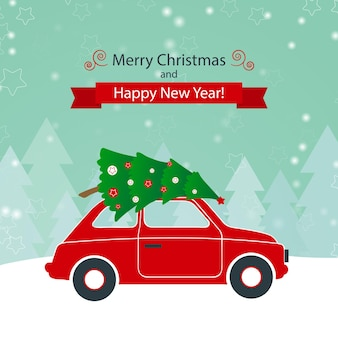 Red car with christmas tree on the winter background