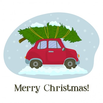 Red car with christmas tree in winter greeting card