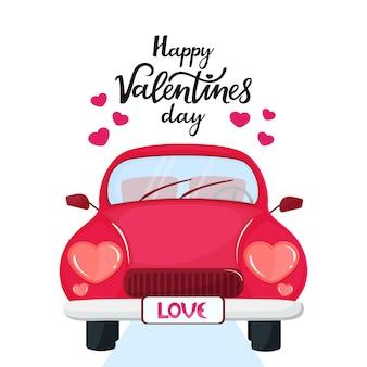하트 모양의 헤드라이트가 있는 빨간 차. 해피 발렌타인의 날 손으로 그린 글자.