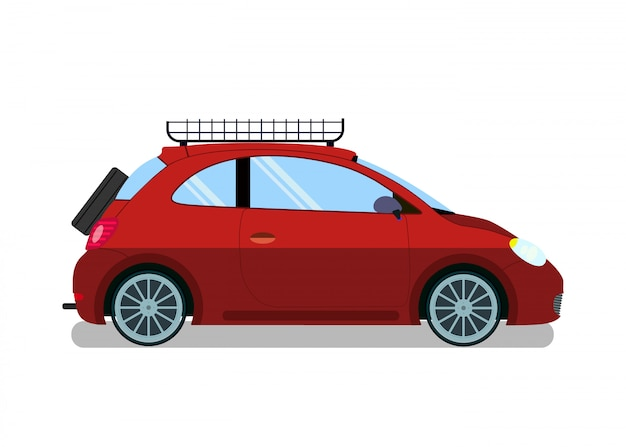 Red car with roof rails