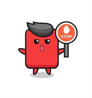 정지 신호를 들고 있는 레드 카드 캐릭터 그림, 티셔츠, 스티커, 로고 요소를 위한 귀여운 스타일 디자인