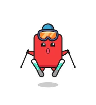 스키 선수로서의 레드 카드 마스코트 캐릭터, 티셔츠, 스티커, 로고 요소를 위한 귀여운 스타일 디자인