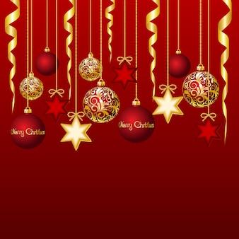Красная карточка с елочными шарами иллюстрации
