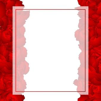 Red carnation flower banner card border