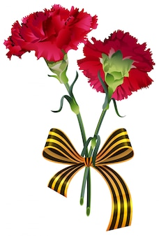 Red carnation flower bouquet and st. george ribbon symbol russian victory day