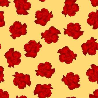 黄色の背景に赤いカーネーションの花。