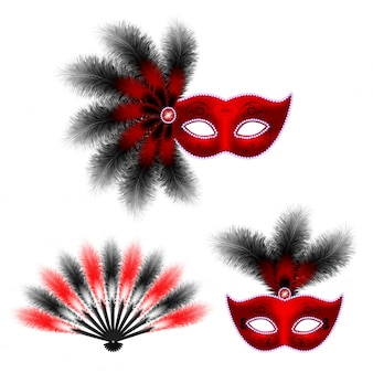 Red carnival venetian mask, masquerade feather fan