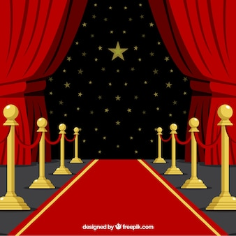 Red carpet background in flat style