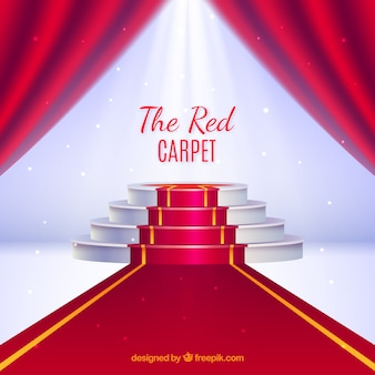 Red carpet background in realistic style