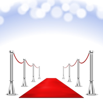 Red carpet and bokeh lights