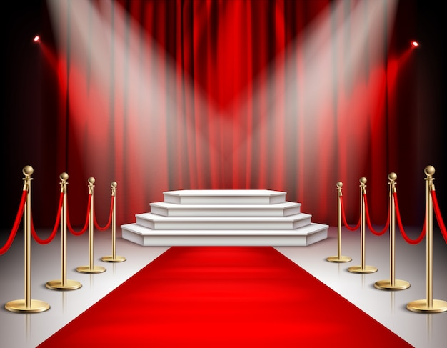 Red carpet celebrities event realistic composition with white stairs podium spotlights carmine satin curtain background  illustration