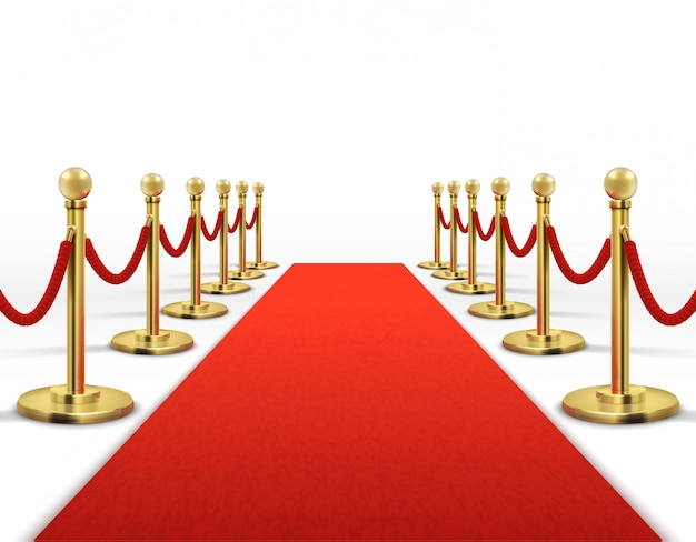 Red carpet for celebrity with gold rope barrier. success, prestige and hollywood event vector concept. illustration of carpet red color for entrance vip