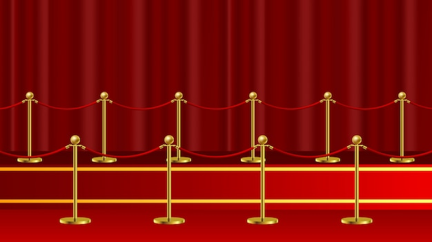 Red carpet ceremonial vip event or head of state visit realistic image with gold barriers