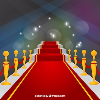 Red carpet ceremony background in flat style