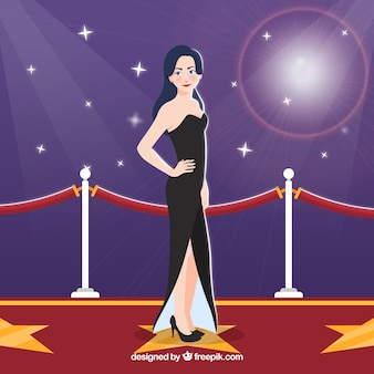 Red carpet design with woman