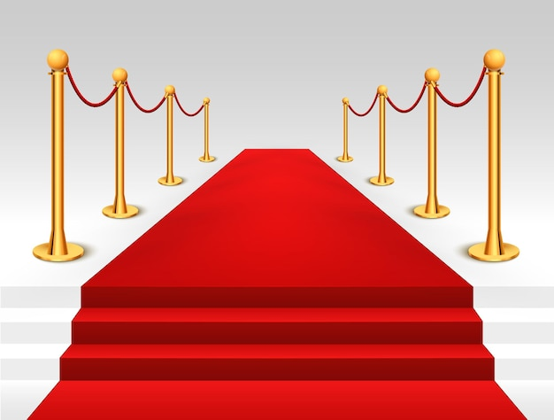 Red carpet event with gold barriers illustration