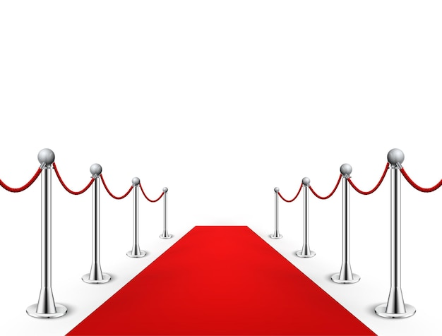 Red carpet event with silver barriers illustration
