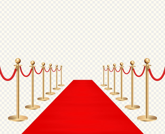 Red carpet and golden barriers realistic isolated on transparent background illustration