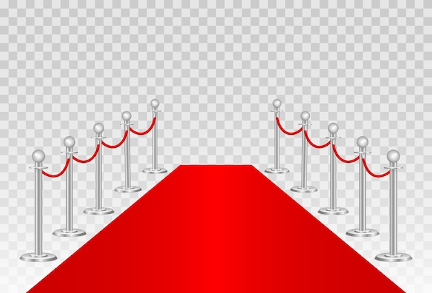 Red carpet and path barriers
