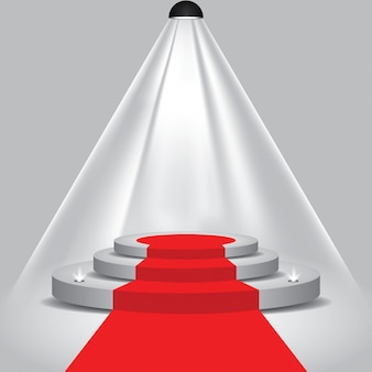 Red carpet to podium stage with spotlights