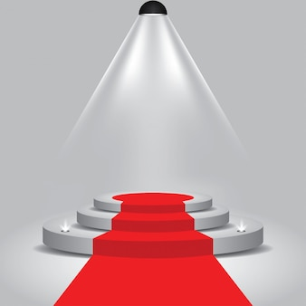 Red carpet to podium stage with with spotlight